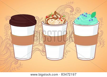 Hand-drawn Vector Illustration - Coffee To Go And Other Sweet Desserts. Background With Waves And Fl