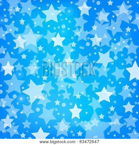 vector abstract blue background with glitter stars