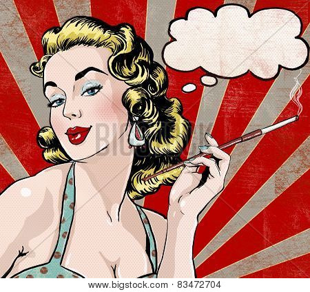 Pop Art illustration of woman with the speech bubble and cigarette. Pop Art girl. Party invitation.