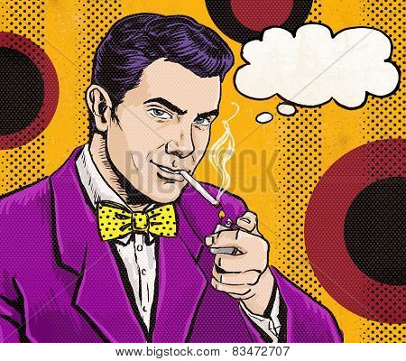 Vintage Pop Art Man with cigarette  and with speech bubble.Party invitation. Man from comics.Playboy
