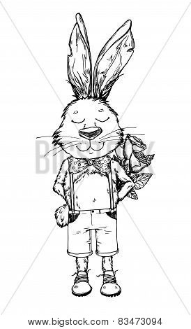 Hand-drawn  Illustration. Bunny Boy With Flower. Vintage