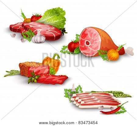 Meat With Vegetables Set