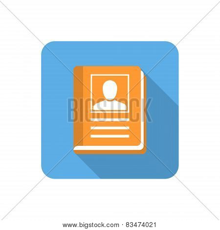 Flat Address Book Icon With Long Shadow. Vector Illustration