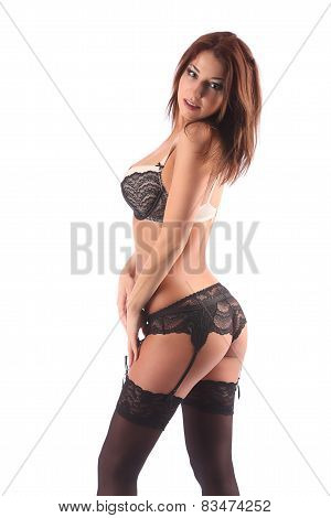 poster of One Sexy Burlesque Dancer Woman Stripper Showgirl In Studio Isolated