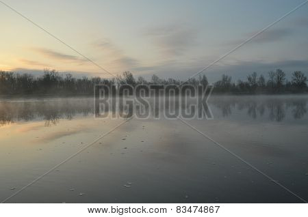 The River With A Strong Current Of The Morning. Water Flowing Into The Estuary. Central Vistula