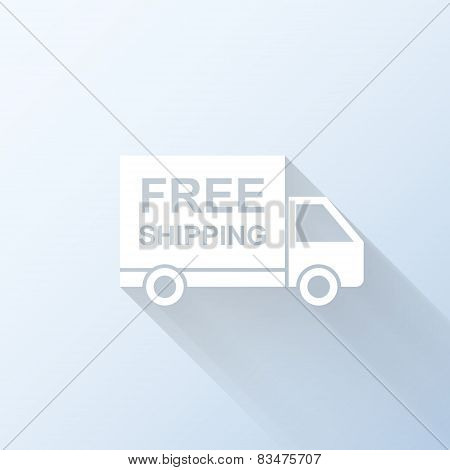 Flat Free Shipping Truck Icon With Long Shadow. Vector Illustration