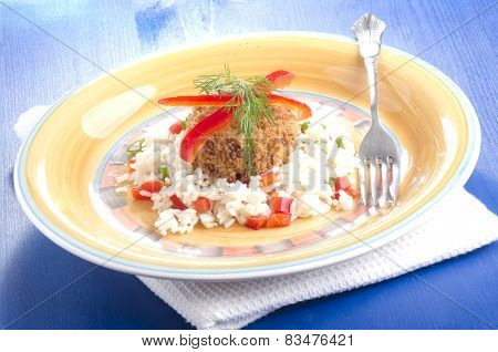 Fish Cake On Rice With Red Bell Pepper