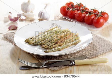 Baked Breen Asparagus On A Plate