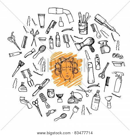 Hand-drawn Vector Illustration. Mega Set - Hairdressing Tools (scissors, Combs, Styling). Isolated O