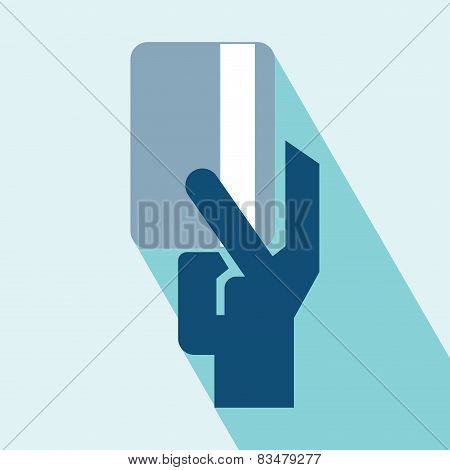 Hand And Card Vector Icon