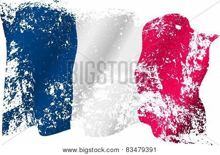 France Grunge Flag