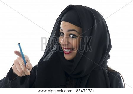 Arabian business woman holding a clipboard isolated on white