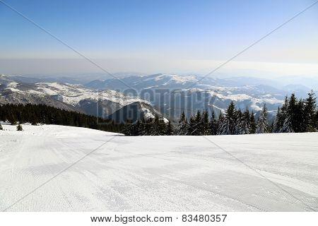 Ski run in mountain Kopaonik   Serbia.