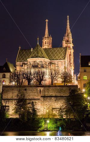 Basel Minster Over Rhine By Night - Switzerland