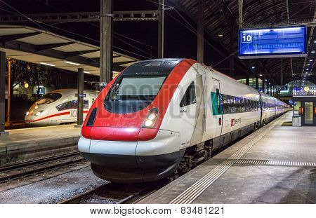 Swiss tilting high-speed train in Basel