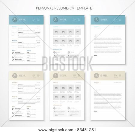 Personal business curriculum vitae and resume vector two colors