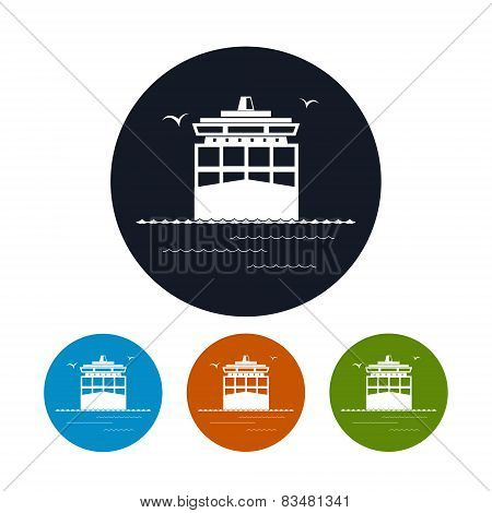 Icon Cargo Container Ship ,  Vector Illustration