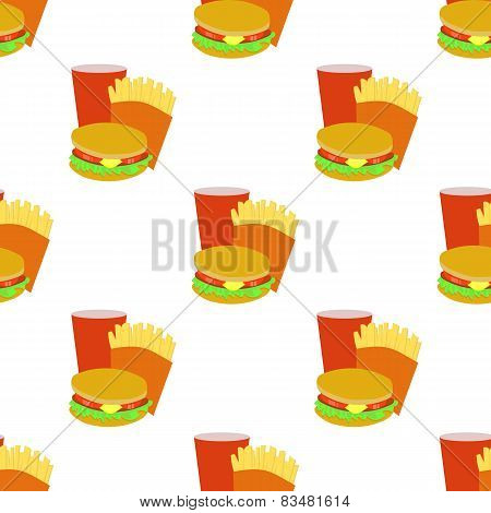 Seamless background with cartoon style fastfoods