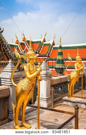 Golden Angle At Wat Phra Kaeo, Temple Of The Emerald Buddha And The Home Of The Thai King. Wat Phra