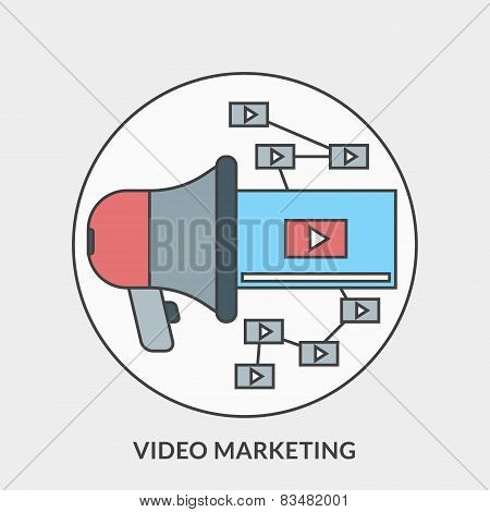 Flat Design Concept For Video Marketing. Vector Illustration For Web Banners And Promotional Materia