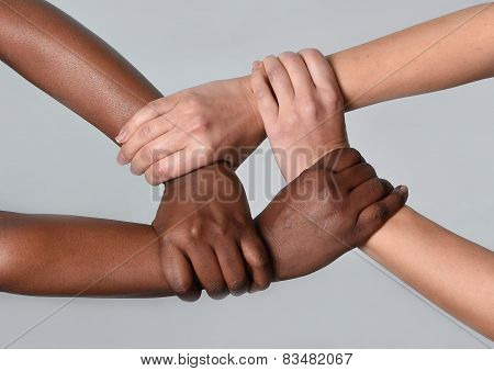 White Caucasian Female And Black African American Hands Holding Together Against Racism And Xenophob