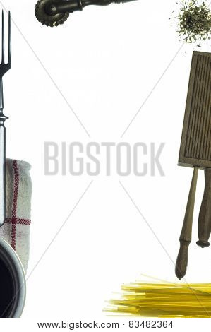 kitchen tools with white background