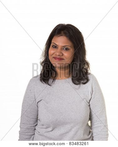 Portrait of a beautiful indian woman isolated on white