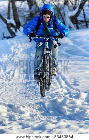 Jumping cyclist
