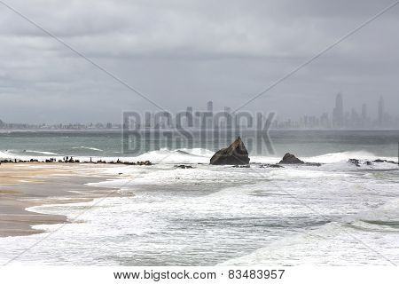 King tides at Currumbin Rock Gold Coast, Australia