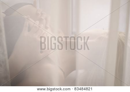 Perfect Shaped Silhouette Of Hiding In Tulle Elegant Seductive Young Lady Wearing Lingerie Or Bikini