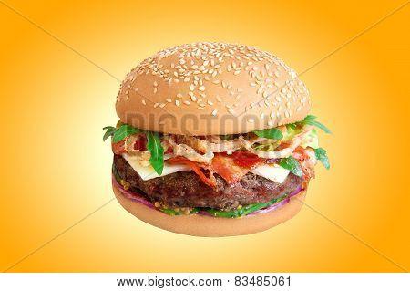 Hamburger Isolated On Yellow Background