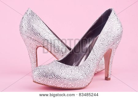 shiny high heel shoes