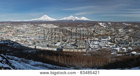 Panorama: City Petropavlovsk-kamchatsky And Volcanoes. Kamchatka (russia)
