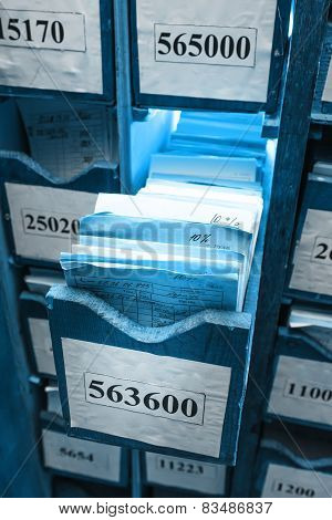 Drawer With Business Papers In Archive