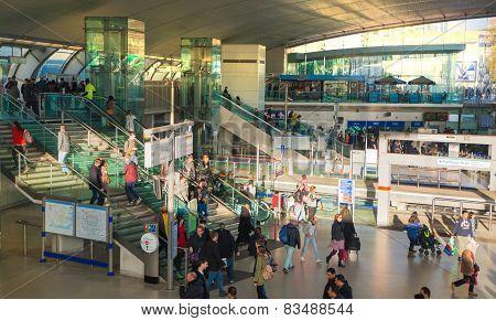 LONDON, UK - NOVEMBER 29, 2014: Stratford international train and tube station, one of the biggest t