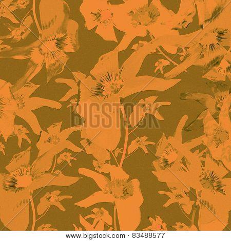 Lilies Motif Vintage Floral Pattern