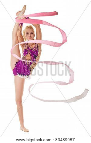 Free callisthenics. Lovely gymnast with ribbon