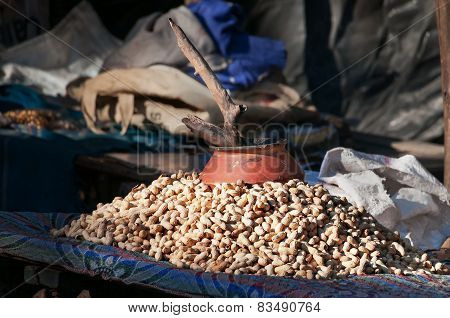 Fried Peanuts At Street Market