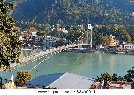 View Of River Ganga And Ram Jhula Bridge