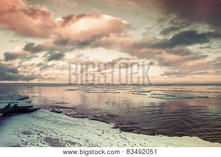 Winter Coastal Landscape With Floating Ice. Gulf Of Finland
