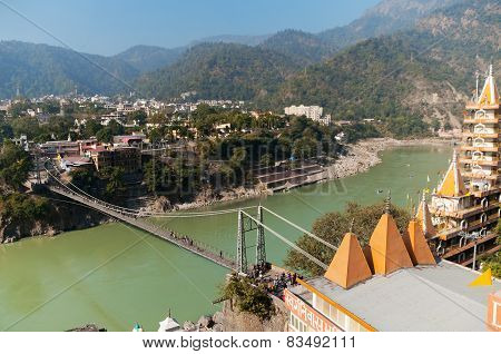 View Of River Ganga And Laxman Jhula Bridge