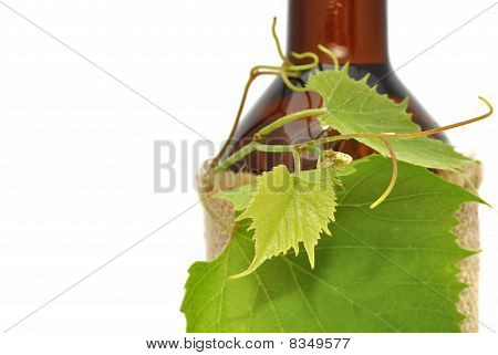 Grape Leaves on Botlle of Wine