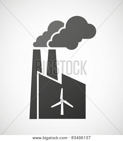 Industrial Factory Icon With A Wind Generator