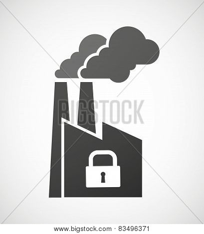 Industrial Factory Icon With A Lock Pad