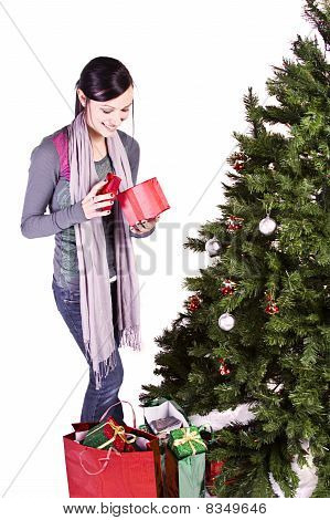 Beautiful Girl By The Christmas Tree