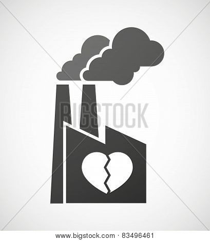 Industrial Factory Icon With A Broken Heart