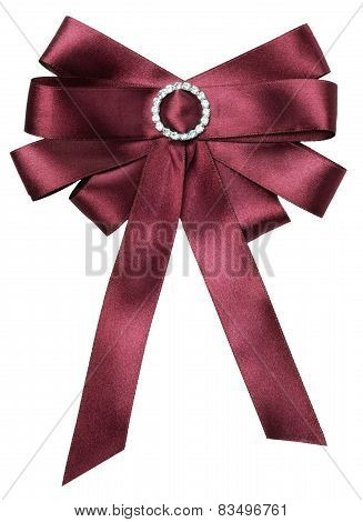 Burgundy Bow Isolated On The White Background