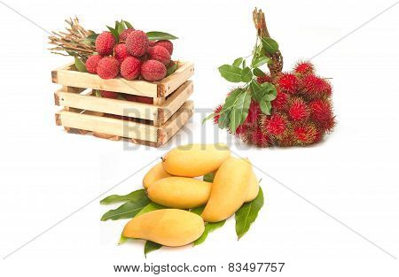 Set Of Asian Fruit ,mango , Rambutans And Lychees