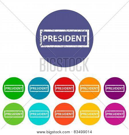 President flat round icon set