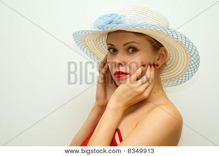 Sensual Beautiful Girl In A Straw Hat
